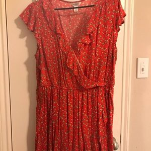 Red cherry print floral dress